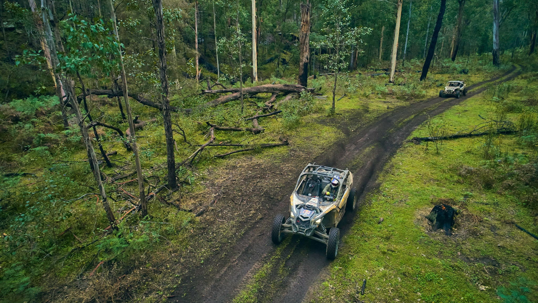 Two Can-Am Maverick X3 Riding Through a deep forest in Australia