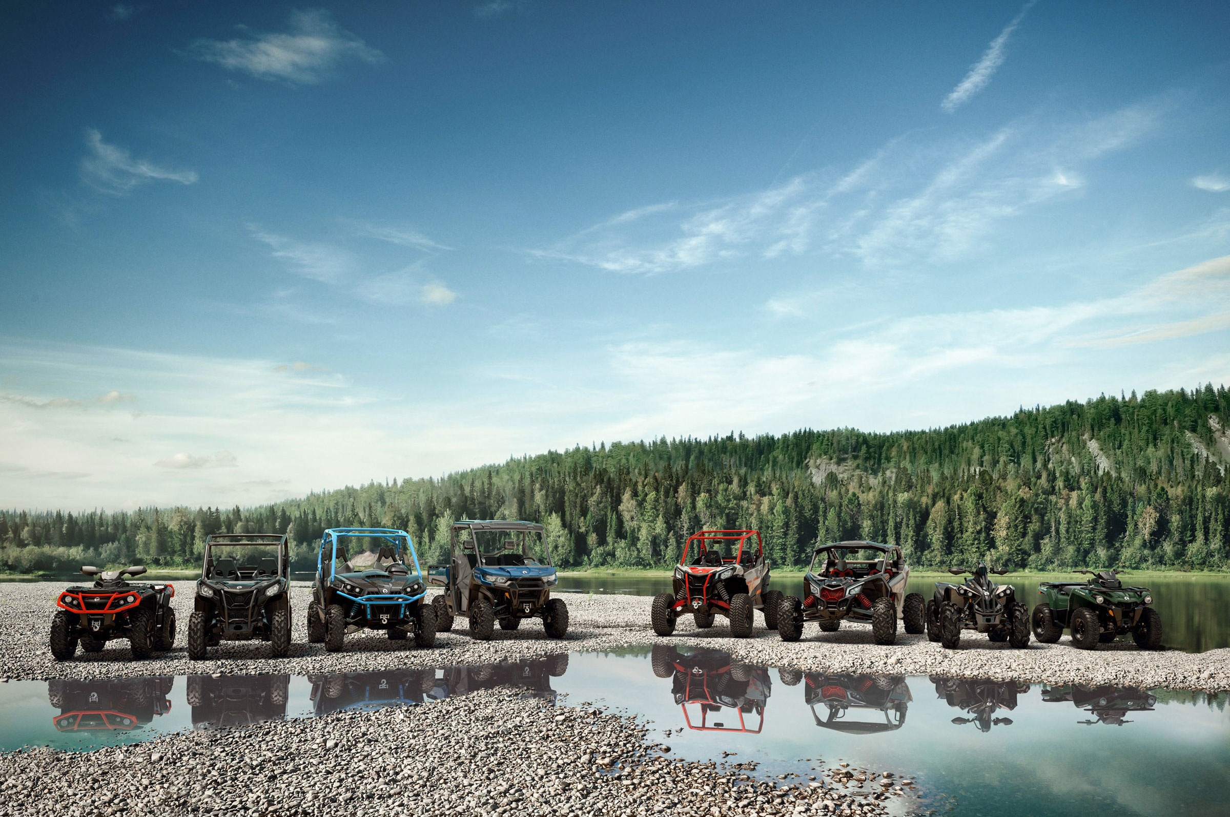 All Can-Am Off-Road ATV & Side-by-Side models near a lake