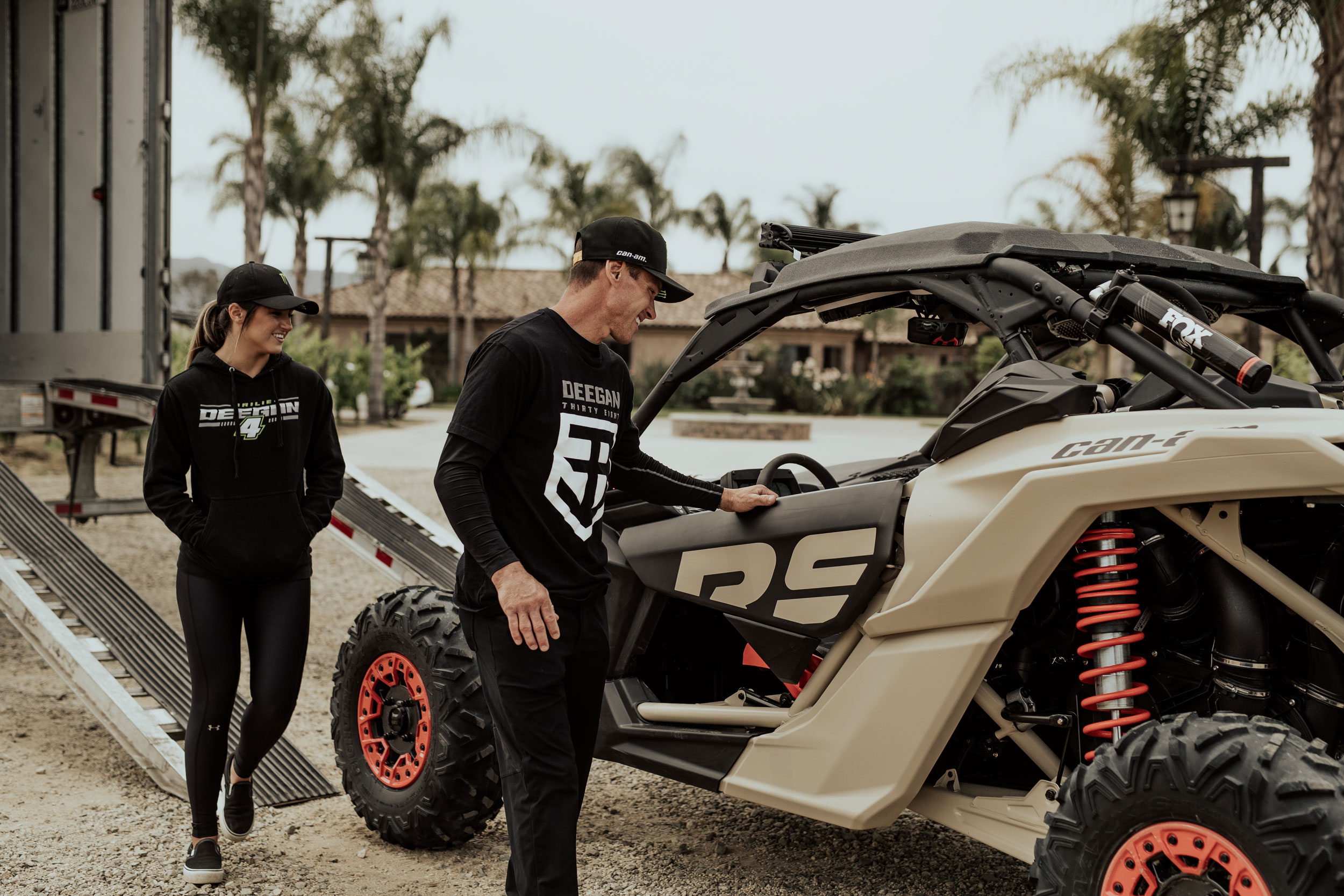 Bryan and Hailie Deegan with their Can-Am Maverick