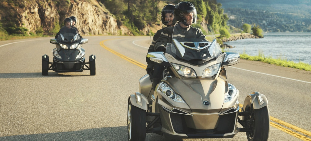 Two Couples Riding Can Am Spyder RT On The Seaside