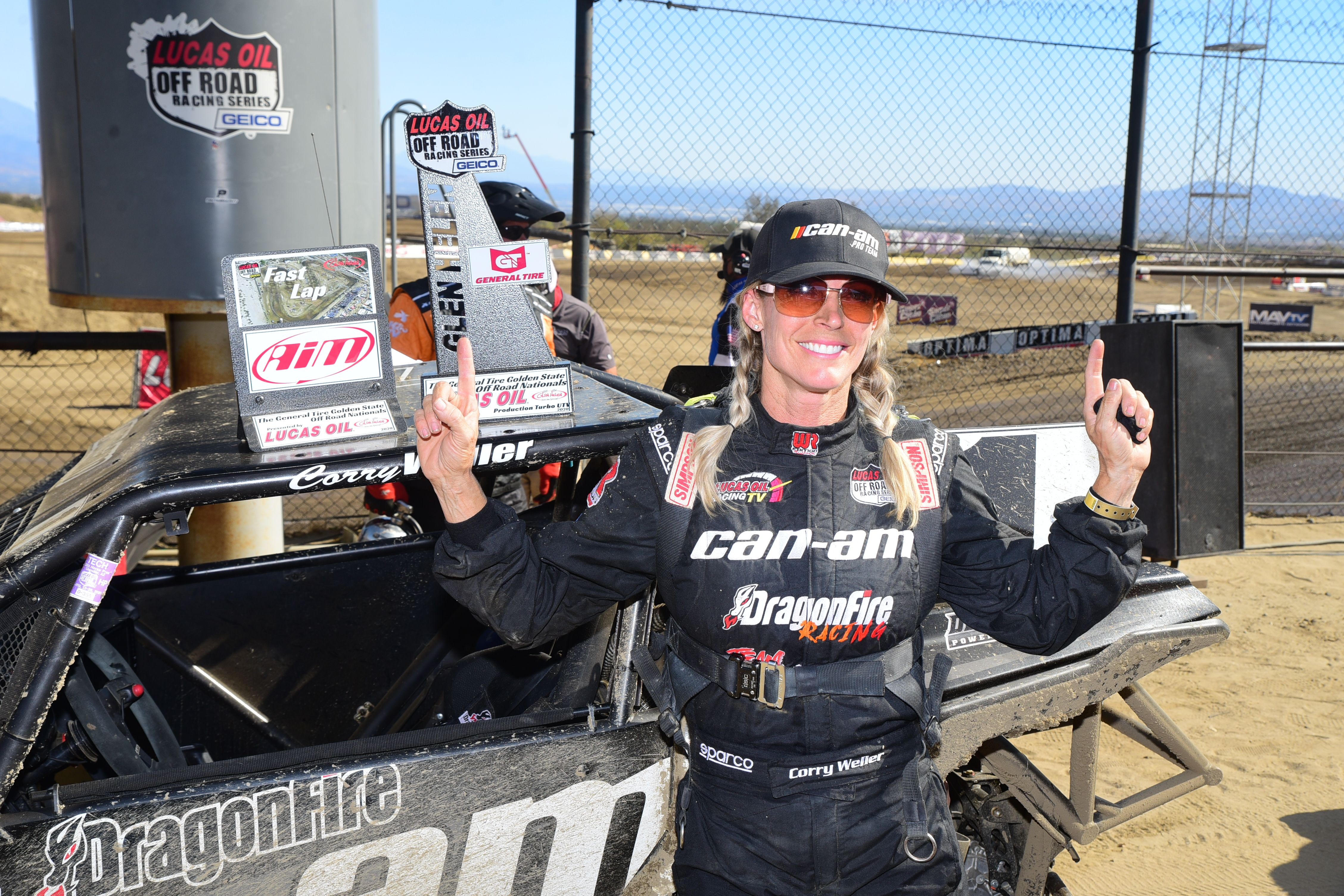 Corry Weller celebrating her win at Lucas Oil Off Road Racing Series