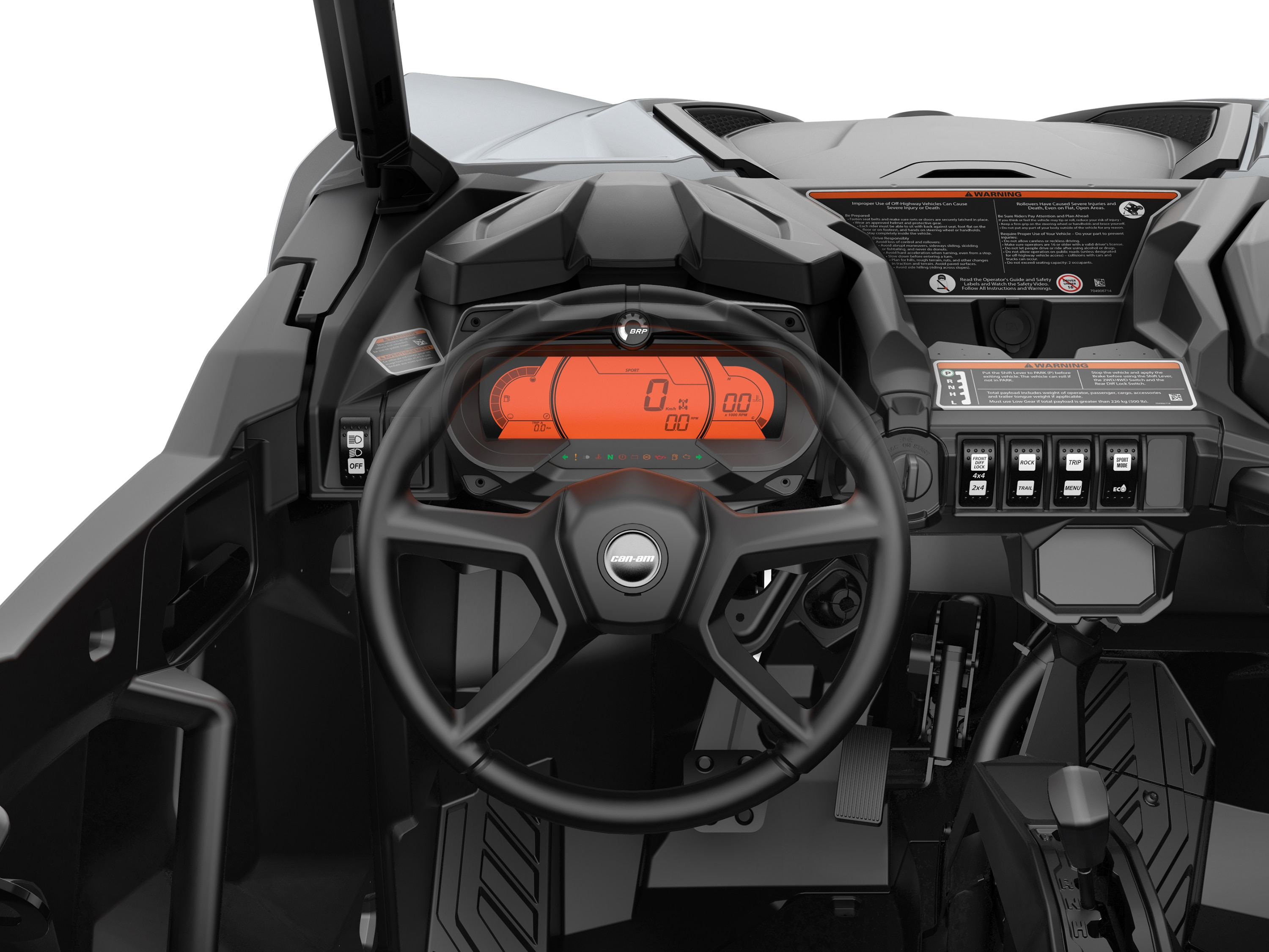 Can-Am Maverick Sport 4.5 and 7.6 in digital display with keypad and interior