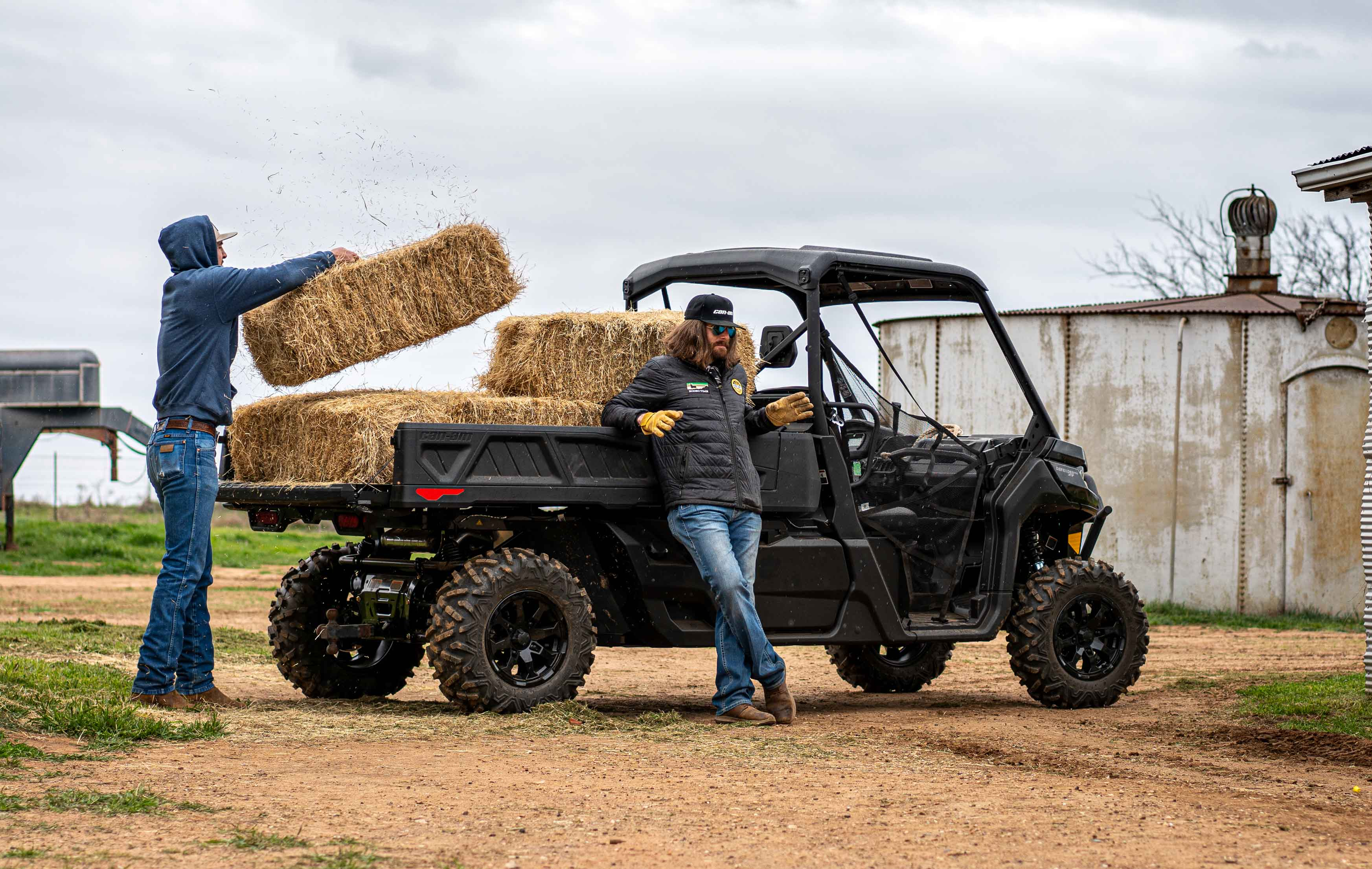 Can-Am Defender side-by-side vehicle ranching bed space hay capacity