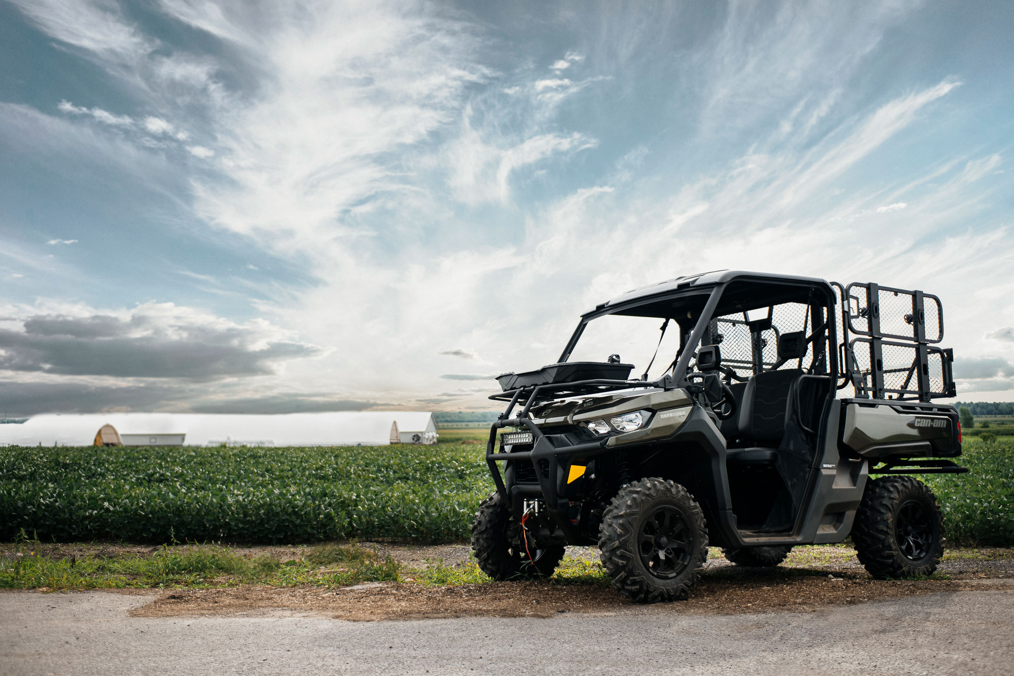 A customized Can-Am Defender XT side-by-side