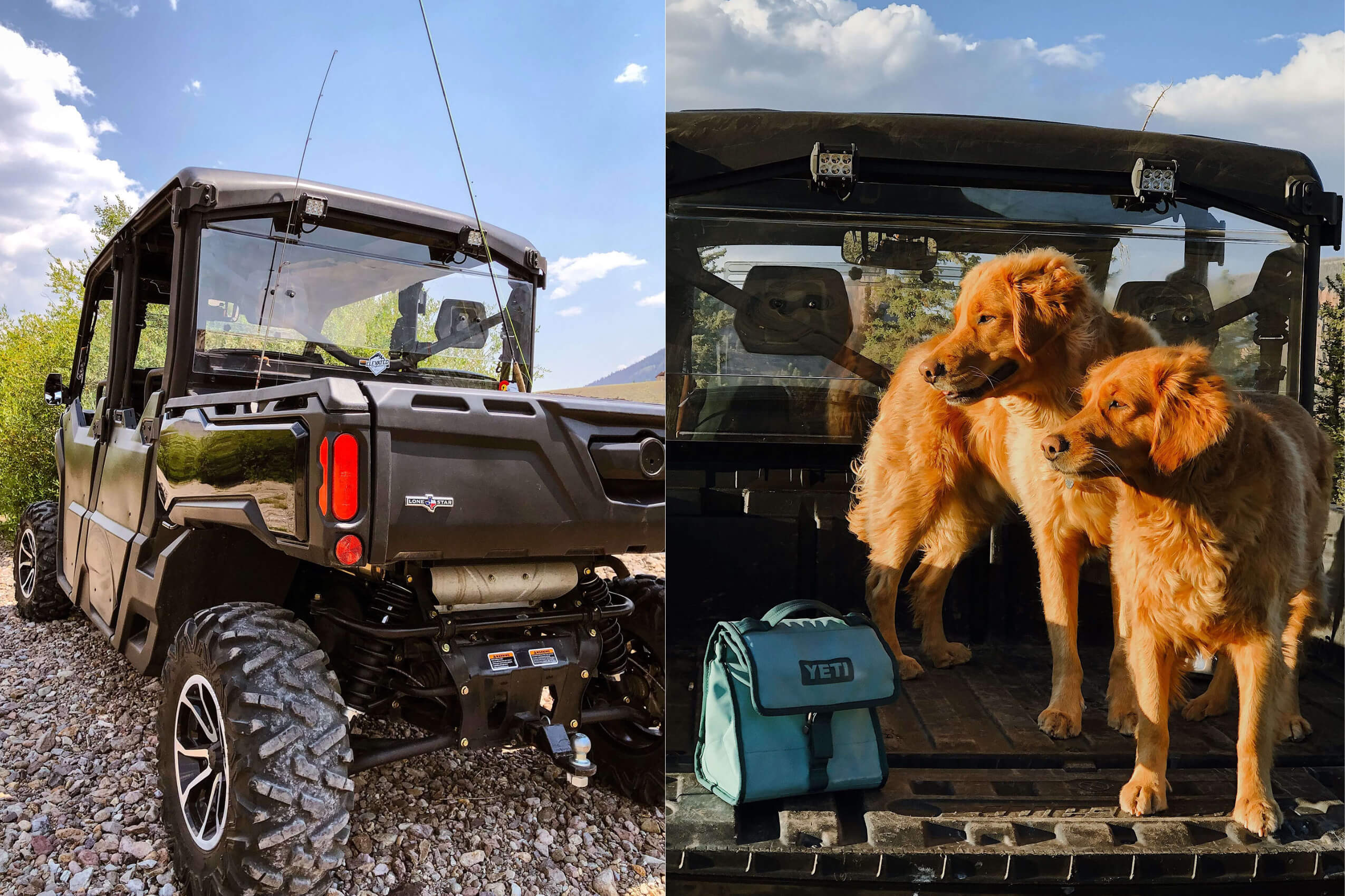 A collage of two pictures of a custom Can-Am Defender Lone Star with dogs