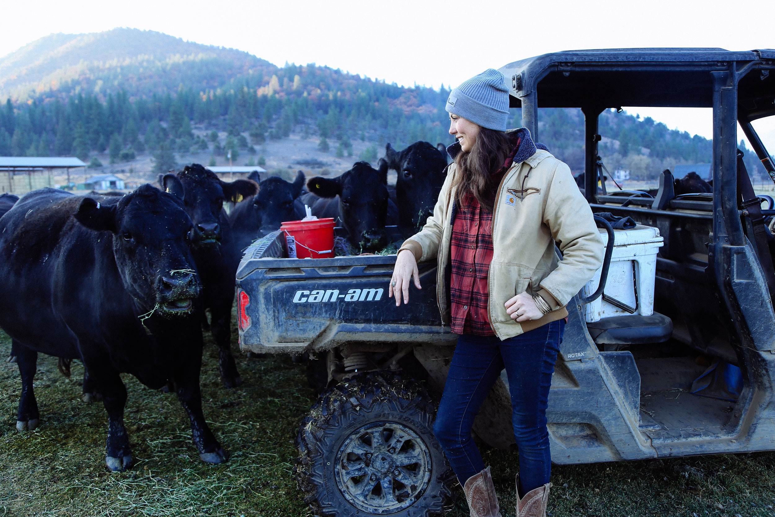 A woman by a Can-Am vehicle and a herd of cattle
