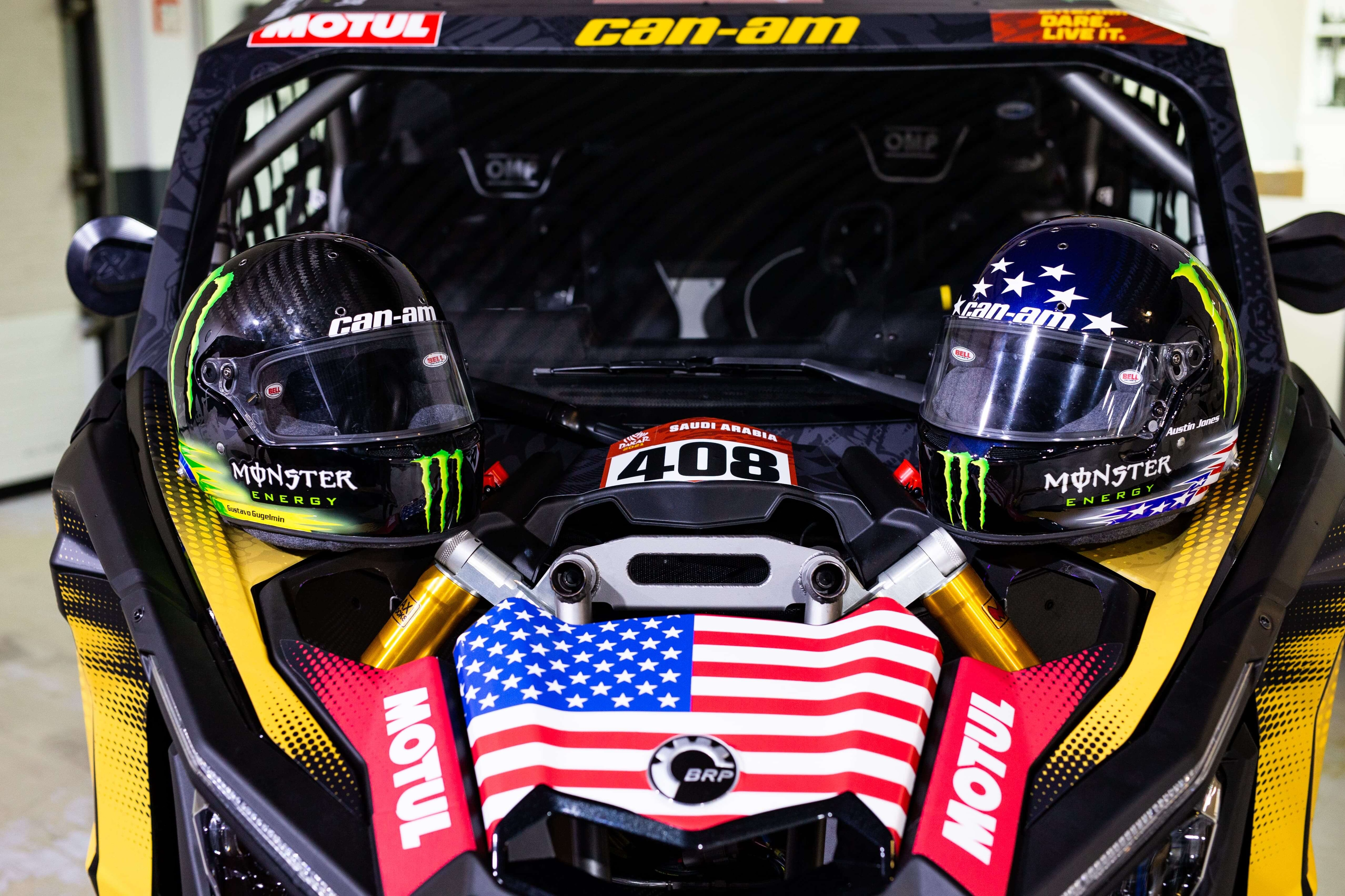 Two Can-Am helmets on the official Can-Am Maverick X3 for Dakar Rally
