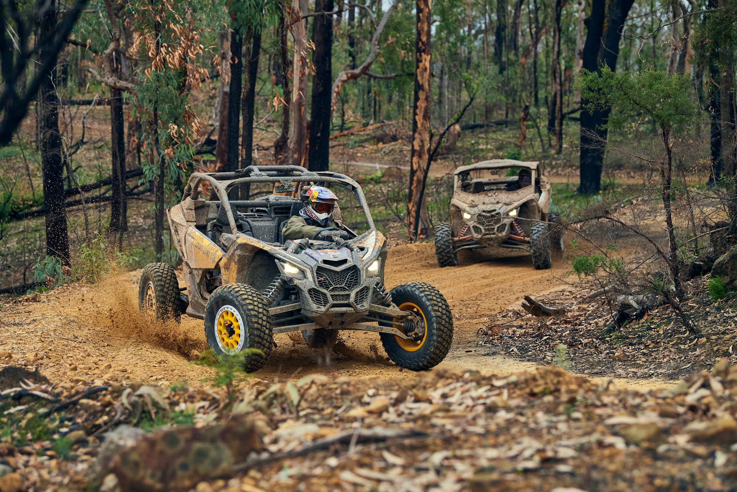 A side-by-side vehicle being driven on a dirt trail