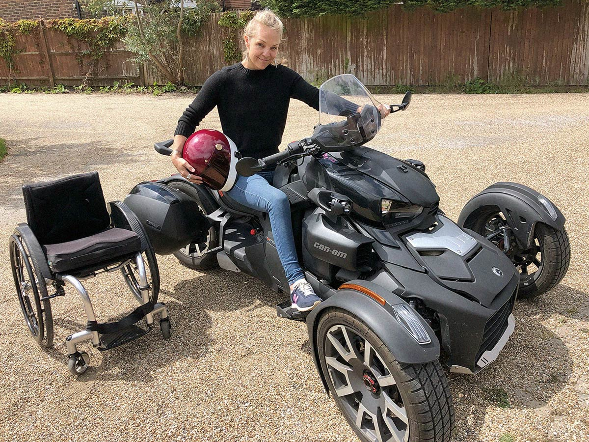 Sophie Morgan sitting on her Can-Am Ryker
