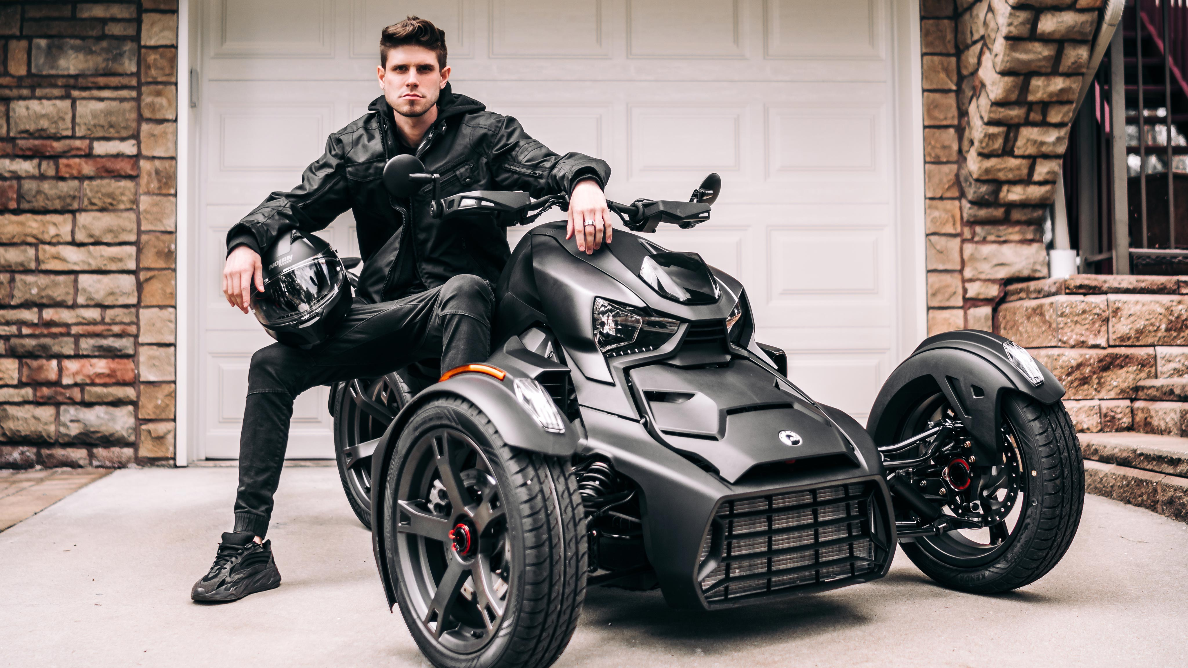 Vlad Shurigin sitting on his Can-Am Ryker