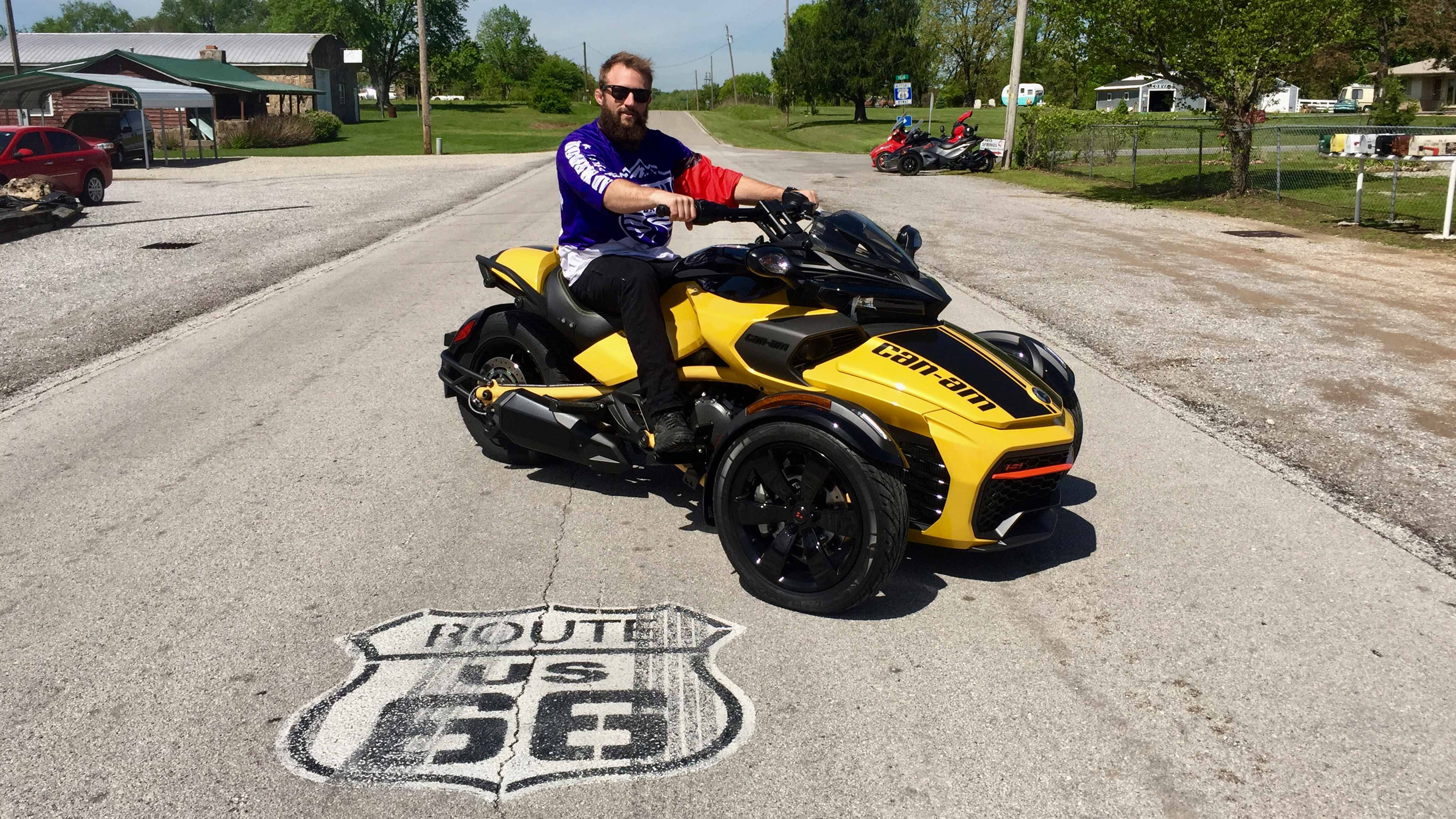 Kendell Madden sitting on his Can-Am Spyder