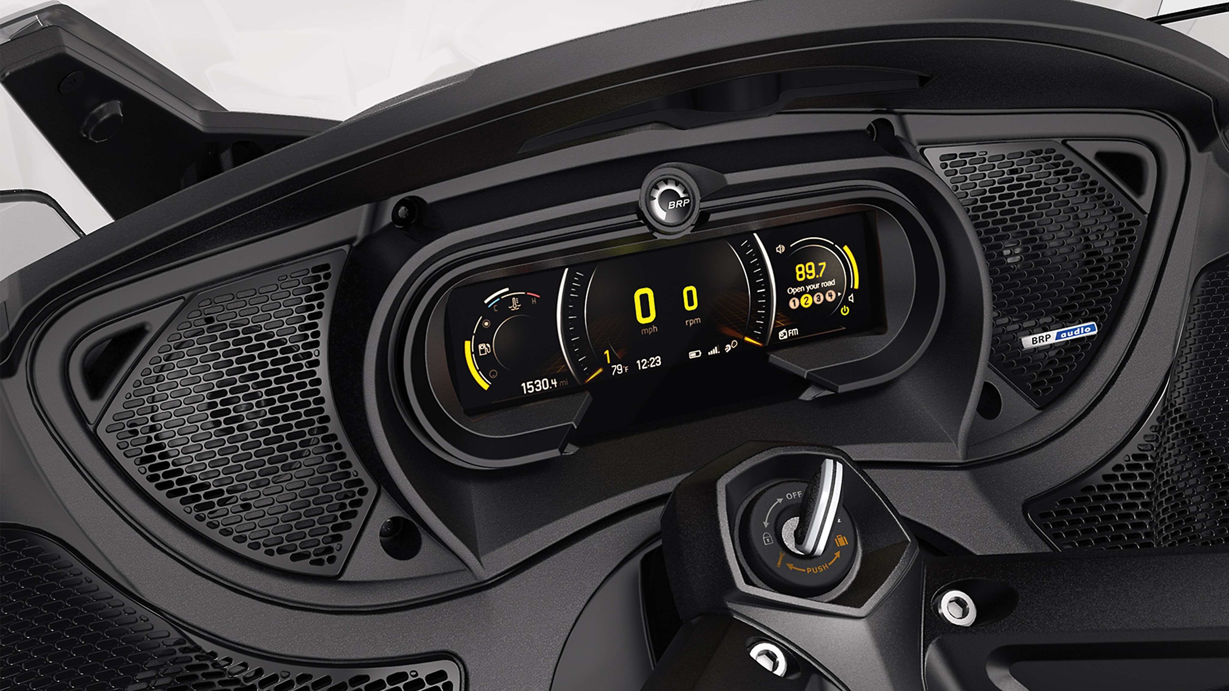 The instrumentation and BRP Connect display of a Can-Am Spyder vehicle