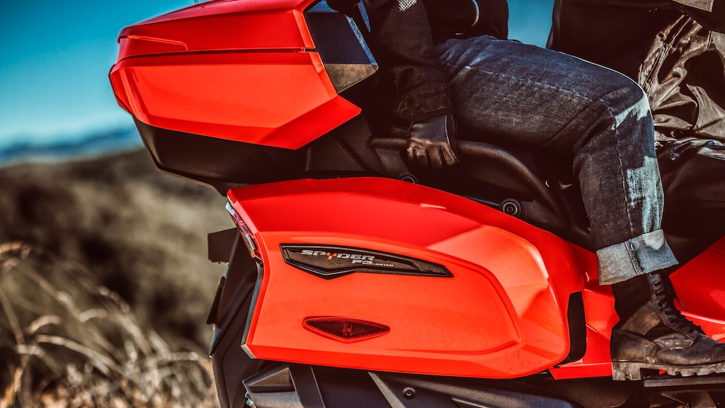 Storage room on a Can-Am Spyder vehicle