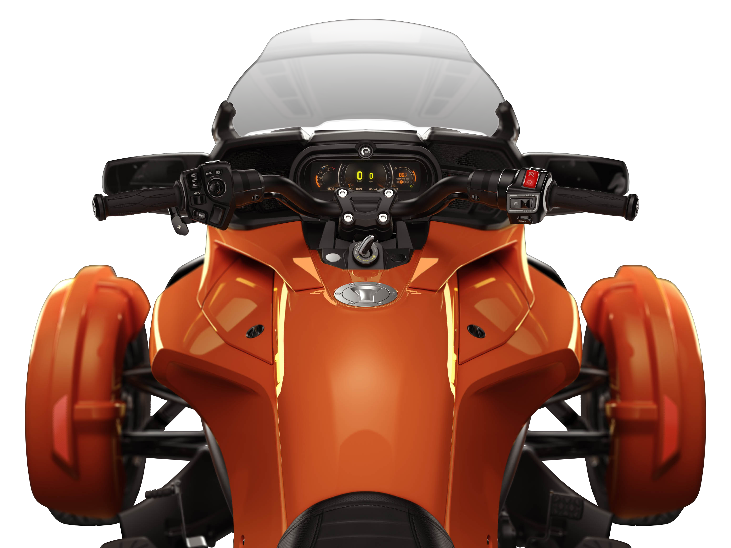 """The instrumentation and BRP Connect display of a Can-Am Spyder vehicle from driver's view	"""