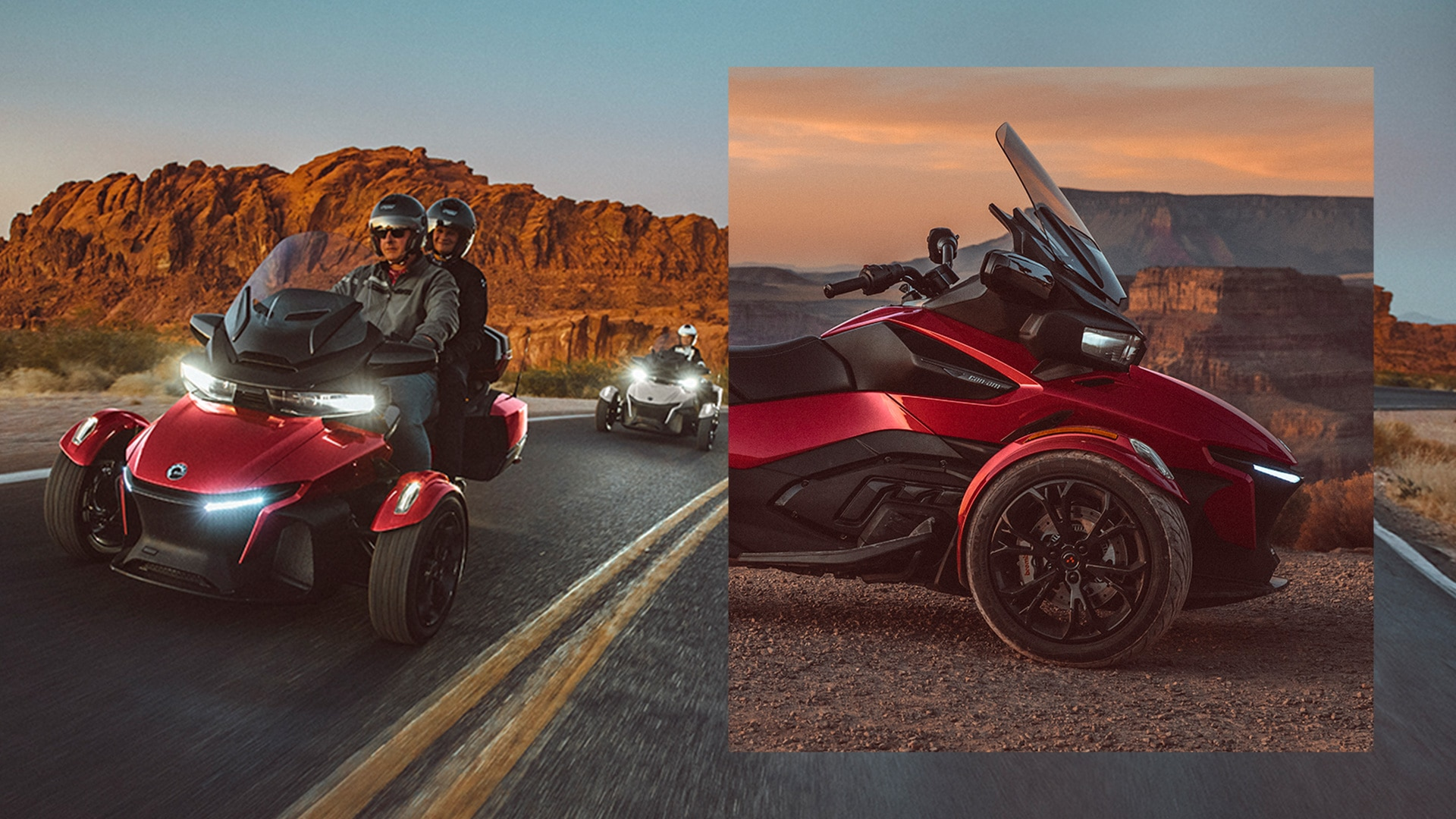 Riders driving the reimagined Can-Am Spyder RT