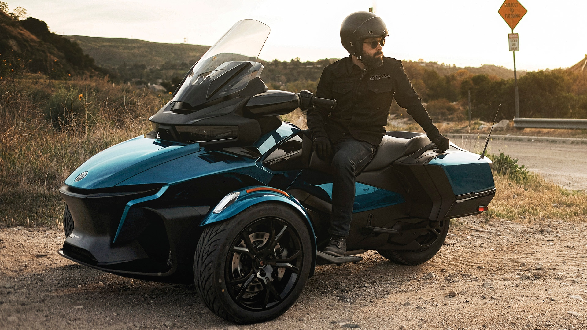 Clint Carter sitting on a Can-Am Spyder RT vehicle