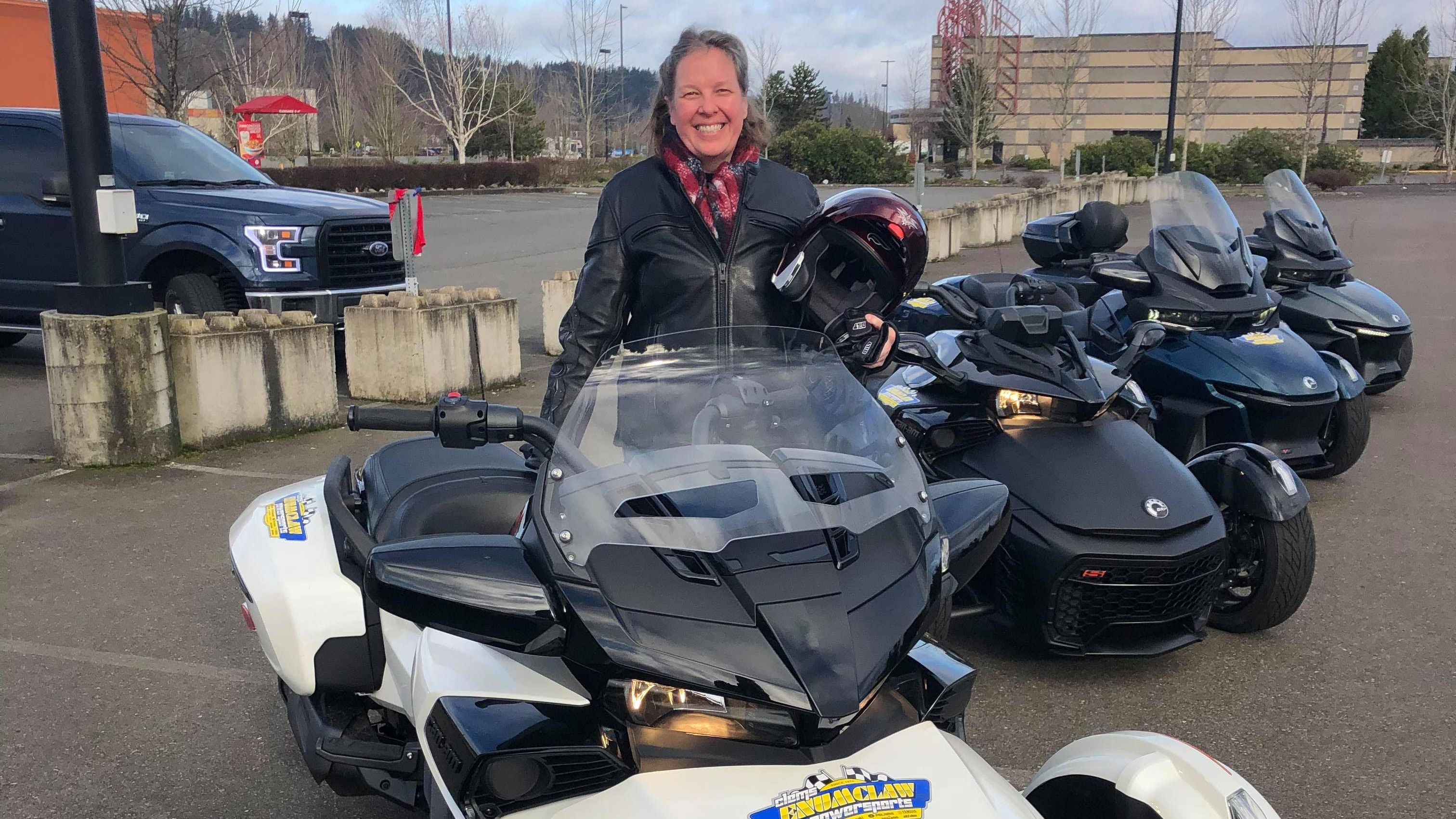 Lynn Hamby with her Can-Am spyder vehicle