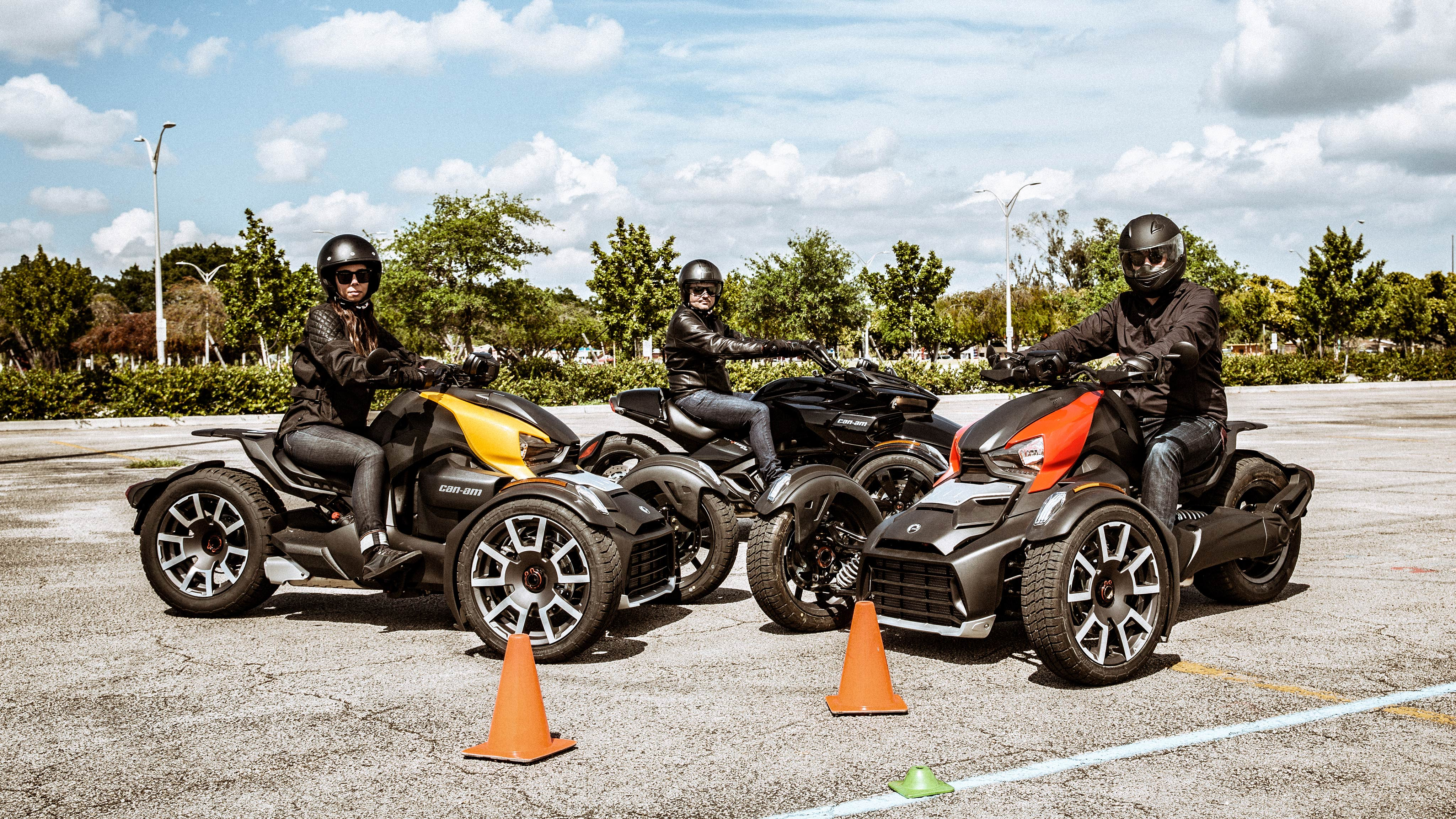 Group of people learning to ride a Can-Am Ryker